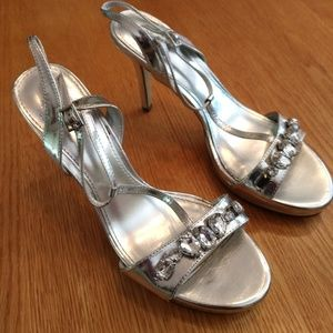 Jeweled high heel sandals